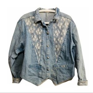 Vintage 80s Denim & Lace Jacket High Low Spike Hem